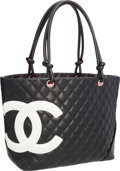 "Luxury Accessories:Bags, Chanel Black Lambskin Leather Large Cambon Tote Bag. Very Goodto Excellent Condition. 12"" Width x 9.5"" Height x 5.5""..."