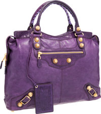 """Balenciaga Ultra Violet Giant Brief Bag with Gold Hardware Very Good to Excellent Condition 19"""" W"""