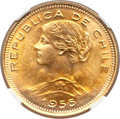 Chile, Chile: Republic gold 100 Pesos 1955-So MS68 NGC,...
