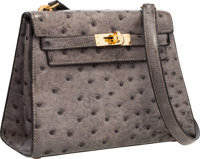 Hermes 20cm Graphite Ostrich Mini Sellier Kelly Bag with Gold Hardware Very Good to Excellent Condition </