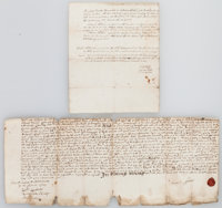[King William III and Queen Anne]. Group of Two 18th Century Land Documents from the Reigns of King William III and Quee...
