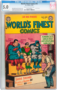 World's Finest Comics #70 (DC, 1954) CGC VG/FN 5.0 Cream to off-white pages