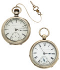 Timepieces:Pocket (pre 1900) , Two Elgin Key Wind 18 Size Pocket Watches Runners. ... (Total: 2 Items)
