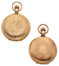 Timepieces:Pocket (post 1900), Waltham & Mermod Jaccard Hunter Case Pocket Watches. ...(Total: 2 Items)