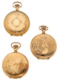 Timepieces:Pocket (post 1900), Three Hampden's Hunter Case Pocket Watches. ... (Total: 3 Items)