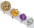Estate Jewelry:Rings, Multi-Stone, Diamond, Gold Rings. ... (Total: 4 Items)