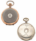 Timepieces:Pocket (post 1900), Two Swiss Pocket Watches One Key Wind. ... (Total: 2 Items)