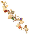 Estate Jewelry:Bracelets, Enamel, Multi-Stone, Diamond, Gold Charm Bracelet. ...