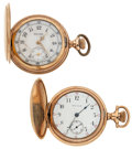 Timepieces:Pocket (post 1900), Elgin Fancy Dial & Waltham Pocket Watches Runners. ... (Total:2 Items)