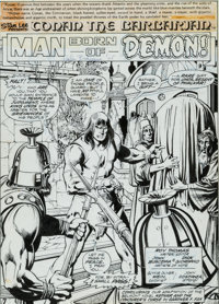 John Buscema, Dick Giordano, and Terry Austin Conan the Barbarian #51 Splash Page 1 Original Art (Marvel, 1975)