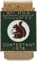Golf Collectibles:Medals/Jewelry, 1978 PGA Championship Contestant Money Clip From The Sam SneadCollection....