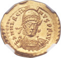 Ancients:Roman Imperial, Ancients: Marcian, Eastern Roman Emperor (AD 450-457). AV solidus (20mm, 4.46 gm, 5h)....