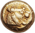 Ancients:Greek, Ancients: LYDIAN KINGDOM. Alyattes (ca. 610-561 BC). ELthird-stater or trite (12mm, 4.72 gm). ...