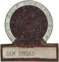 Golf Collectibles:Medals/Jewelry, 1970 US Open Player Badge From The Sam Snead Collection....