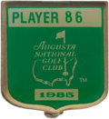 Golf Collectibles:Medals/Jewelry, 1985 Masters Tournament Player Badge From The Sam Snead Collection....