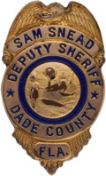 Golf Collectibles:Medals/Jewelry, Sam Snead Deputy Sherriff Badge From The Sam Snead Collection....