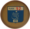 Golf Collectibles:Medals/Jewelry, 1991 Masters Tournament Player Badge From The Sam SneadCollection....