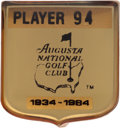 Golf Collectibles:Medals/Jewelry, 1984 Masters Tournament Player Badge From The Sam Snead Collection....