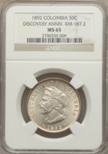 Colombia, Colombia: Republic 50 Centavos 1892 MS65 NGC,...