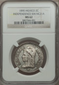 Mexico, Mexico: Republic silvered-bronze Medallic Pattern 2 Centavos 1890MS62 NGC,...