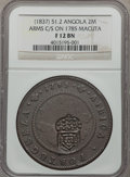 Angola, Angola: Portugese Colony Counterstamped 2 Macutas ND (1837) F12Brown NGC,...