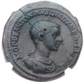 Ancients:Roman Imperial, Ancients: Diadumenian as Caesar (AD 217-218). Orichalcum sestertius(32mm, 25.94 gm, 12h). ...