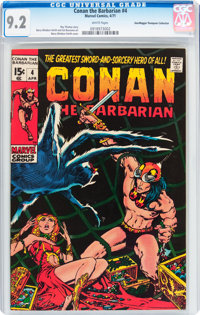 Conan the Barbarian #4 Don/Maggie Thompson Collection pedigree (Marvel, 1971) CGC NM- 9.2 White pages