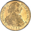 Colombia, Colombia: Charles III 8 Escudos 1774 P-JS AU55 NGC,...