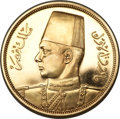 Egypt, Egypt: Farouk gold 500 Piastres 1938 Proof,...