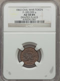 Civil War Tokens, 1863 Token Union With Draped Flags, Civil War Token MS63 Brown NGC.F-189/39A....