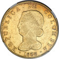 Colombia, Colombia: Republic gold 8 Escudos 1836 B-RS AU50 NGC,...