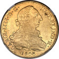 Chile, Chile: Charles IV gold 8 Escudos 1803 So-FJ XF45 NGC,...