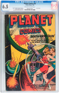Golden Age (1938-1955):Science Fiction, Planet Comics #43 (Fiction House, 1946) CGC FN+ 6.5 Off-white towhite pages....