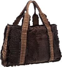 """Dennis Basso Brown Mink & Suede Crocodile Tote Bag Very Good to Excellent Condition 19"""" Width x 1"""