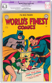 World's Finest Comics #45 (DC, 1950) CGC Apparent FN+ 6.5 Slight (P) Off-white to white pages