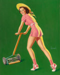 Pin-up and Glamour Art, AL BUELL (American, 1910-1996). Weekend Chores. Oil onboard. 20 x 16 in. (sheet). Signed lower right. ...
