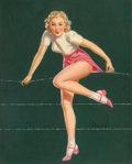 Pin-up and Glamour Art, AL BUELL (American, 1910-1996). Blonde on a Wire. Oil onboard. 20 x 16 in.. Signed lower right. ...