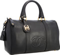 """Luxury Accessories:Bags, Chanel Black Caviar Leather Boston Bag with Gold Hardware. VeryGood to Excellent Condition. 14"""" Width x 8.5"""" Heig..."""
