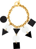 Luxury Accessories:Accessories, Celine Gold Necklace with Black & White Perspex. ...