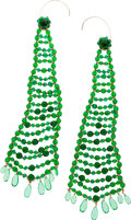Luxury Accessories:Accessories, Miriam Haskel Green Glass Beaded Extra Large Earrings. ExcellentCondition. ...