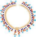 Luxury Accessories:Accessories, Miriam Haskel Blue & Orange Beaded Gold Egyptian Necklace. ...