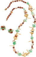 "Luxury Accessories:Accessories, Miriam Haskel Shell & Sea Glass Necklace and Earring Suite.Excellent Condition. 29"" Necklace Length, 1"" EarringDiame..."