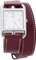 Luxury Accessories:Accessories, Hermes Stainless Steel Cape Cod GM Watch with Natural Barenia, Rouge H Chamonix, White Epsom & Etoupe Evergrain Leather Double...