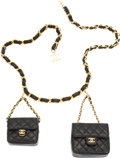 """Luxury Accessories:Accessories, Chanel Black Quilted Lambskin Leather Double Micro Mini Flap Bag Belt. Excellent Condition. 40"""" Length . 3"""" Width ..."""