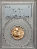 Modern Issues: , 1997-W G$5 Franklin D. Roosevelt Gold Five Dollar MS69 PCGS. PCGS Population (1583/224). NGC Census: (375/449). Mintage: 11...