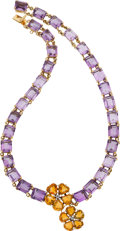 Estate Jewelry:Necklaces, Diamond, Citrine, Amethyst, Gold Necklace. ...