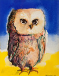 Texas:Early Texas Art - Drawings & Prints, KELLY FEARING (American, 1918-2011). Little Owl with Aegean BlueSky, 1964. Watercolor and ink on paper. 7-1/2 x 9-1/2 i...