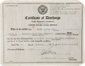 Golf Collectibles:Miscellaneous, 1944 Navy Discharge Certificate From The Sam Snead Collection....