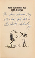 Golf Collectibles:Books/Magazines, 1965 Charles Schulz Signed And Inscribed Peanuts Book From The SamSnead Collection....