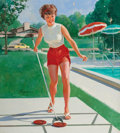 Pin-up and Glamour Art, GIL ELVGREN (American, 1914-1980). Pin-Up Playing Shuffleboard,NAPA Auto advertisement. Oil on canvas. 31 x 28 in.. Sig...